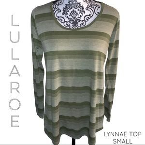 LuLaRoe Lynnae Green Stripped Top Small